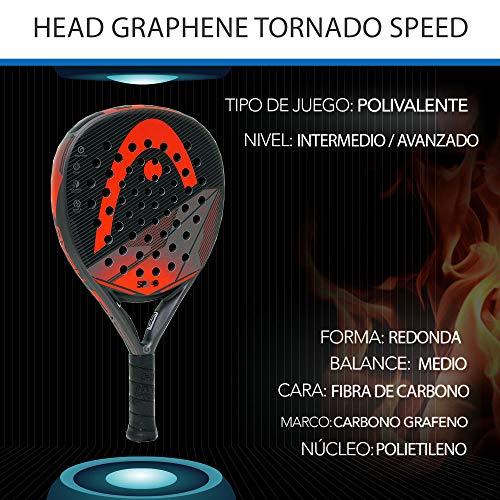 Padel Nuestro - Racchetta Head Graphene Tornado Speed + Overgrip, grande controllo e potenza, adatta per uomo e donna, livello intermedio e avanzato