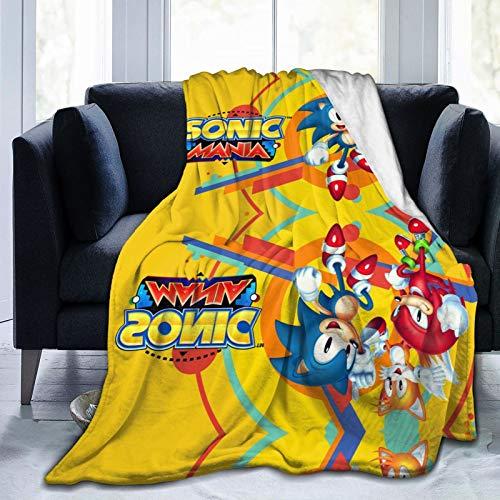 Chaos Emerald erizo PlayStation Heavies Kids Son-ics Ma-nia 2 en 1 Plus suave y mullida manta de forro polar súper suave Shagge Pascua para todas las estaciones, sofá cama de 152 x 127 cm