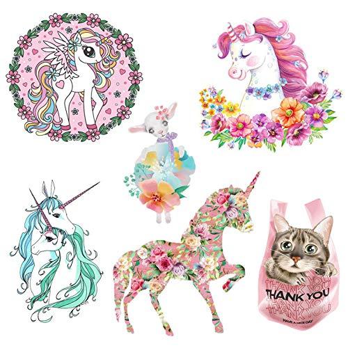 Hierro Unicornio para Niños en Parches, 6PCS Parche de Unicornio, Unicornio Pegatinas de Transferencia de Calor para Lovely Girl Kids Camiseta Jeans Bolsos Decoraciones de Bricolaje