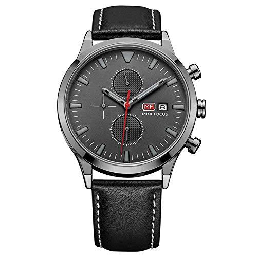 Reloj para Hombre Reloj mecánico automático Calendario analógico Reloj de Pulsera mecánico de Cuero marrón-D