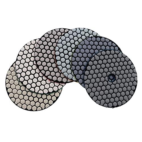 Almohadilla de pulido de diamante 6 unids/set 3'/ 4' almohadilla de pulido seco tipo afilado pulido de diamante flexible para el disco de lijado de piedra de mármol de granito Fuerte fuerza de moli