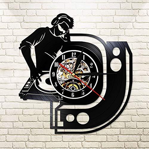 BFMBCHDJ Disc Jockey Vinyl Musikplatte Wanduhr Dj Mixer Schwarz Hängende Uhr LED Nachtlichtlampe Modernes Reloj de Pared Mit LED 12 Zoll