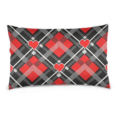 Ahomy Pillowcase Valentine's Day Tartan Buffalo Check Plaid Hearts Soft Cozy Throw Pillow Case Decoration for Home Sofa Car Standard Size (50 x 75 cm)