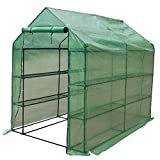 """Sundale Outdoor Gardening Large 4 Tier 12 Shelf Hot Green House with PE Cover and Zipper Door, Waterproof Walk in Plant Green House, UV Protection, Insect Prevention, 97""""(L) x 56""""(W) x 77.6""""(H)"""