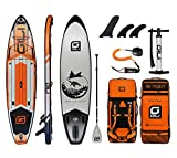 GILI Adventure Inflatable Stand Up Paddle Board: Lightweight, Durable Touring Inflatable SUP: Paddleboard with Wide & Stable Stance, Inflatable Paddle Boards for Adults, 12' x 32' x 6' Thick (Orange)