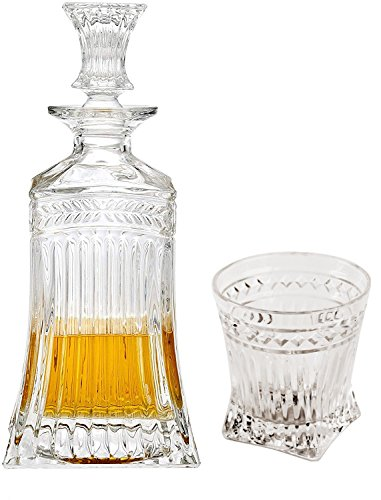 Circleware 10105 Empire Whiskey Glass Decanter Entertainment Set of 5, 1 Liquor Dispenser Beverage Bottle with Square Stopper and 4 Matching Bar Drinking Cup, 547ml Carafe & 8.5 oz Set