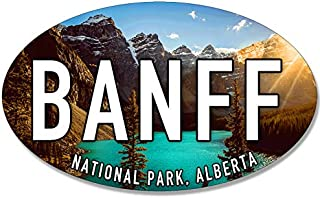 American Vinyl Oval Banff National Park Alberta Sticker (ca Canada bc Rockies np rv)