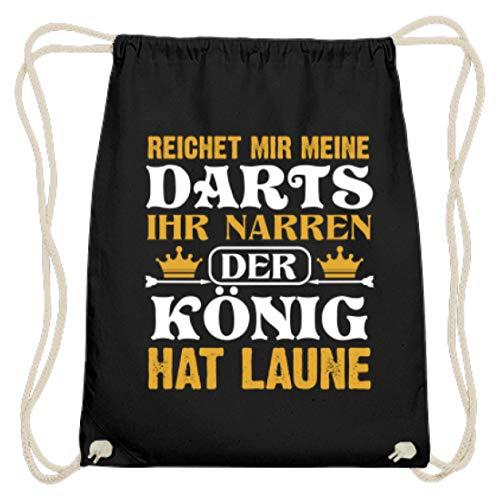 PlimPlom Reichet Mir Meine Darts Ihr Narren Der König Hat Laune Dartspieler Jutebeutel - Baumwoll Gymsac -37cm-46cm-Schwarz