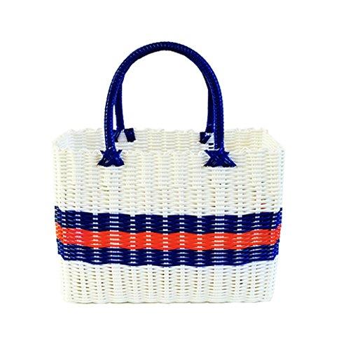 YUMU CASA Einkaufskorb aus Kunststoff geflochten / Badekorb / Dekokorb