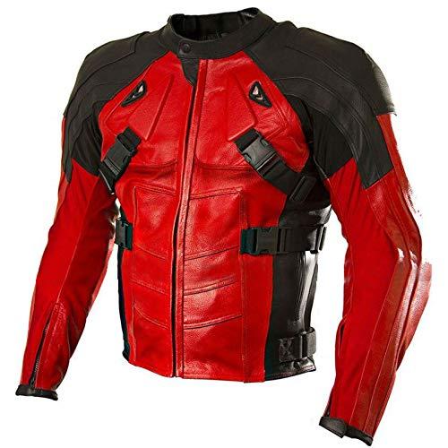e_Genius - Chaqueta de piel para hombre, color rojo y negro Chaqueta de motorista roja y negra S