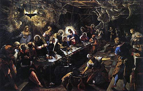 """Jacopo Tintoretto The Last Supper 1594 Basilica di San Giorgio Maggiore 24"""" x 15"""" Fine Art Giclee Canvas Print (Unframed) Reproduction"""