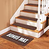 Stair Treads Carpet - 14 Non Slip Carpet Stair Treads + Double Sided Tape & Bonus MAT - Premium Non Skid Indoor treads for Wood Stairs (30 inch X 8 inch)