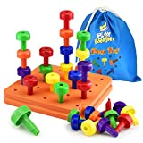 Play Brainy Peg Toy Set – 2 Exciting Montessori Style Learning Toy – Colorful Stacking Peg Boards Toy for Toddlers & Preschoolers – Perfect for Color Recognition & Matching (60 Pegs)