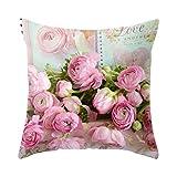 Inicio Rose Flowers Gedruckt Baumwollkissenbezug Cotton Floral Flower Dekokissenbezug Home Decoration Schlafsofa Taille Dekokissenbezug (einseitiges Muster)