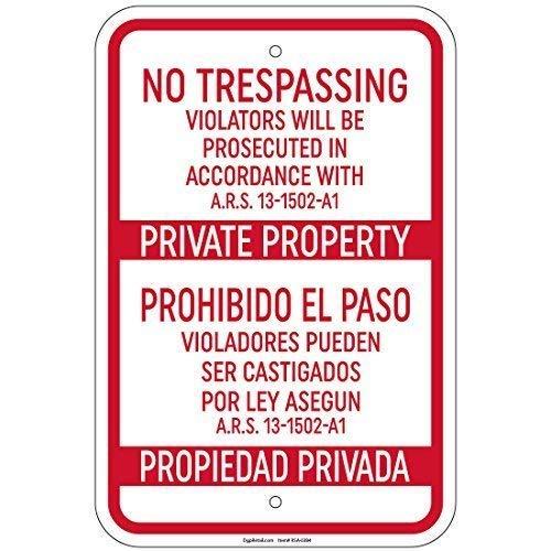 TammieLove Plaque métallique en Aluminium avec Inscription « No Trespassing Violators Authorted Ars » - 20,3 x 30,5 cm