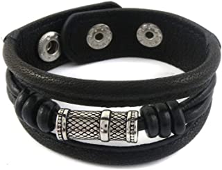 Men's Leather button clasp wrap bracelet adjustable