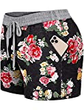 Blevonh Drawstring Shorts for Women,Stretch Waist Soft Pajamas Ladies Plus-Sized Cute Floral Printed Flowy Baggy Boardshort Under Layer 2020 Fashion Summer Clothes Black 2XL
