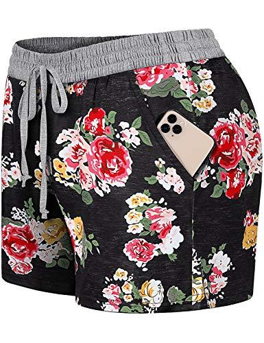 Blevonh ComfyShortsforWomen,Elastic Waist Beautiful Flower Patterns Casual Short with Pockets Ladies Lightweight Inner Layer Beach Boardshort Casual wear with Tee Black M