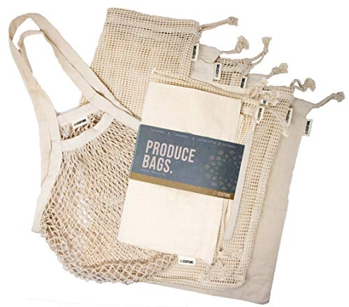 Ecoture Eco Friendly Reusable Produce Bags in Mesh and Muslin for Fruit and Vegetable Storage  Bonus Mesh Grocery Shopping Bag  Lightweight Premium Organic Cotton Zero-Waste Washable See-Through