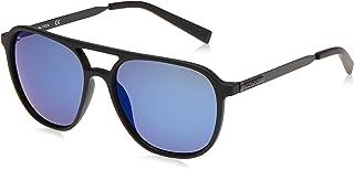 نظارة شمسية للرجال باطار افياتور من نوتيكا مع شعار مطبوع بتقنية ليزرية، بلون اسود مات