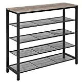 VASAGLE Shoe Rack, 5-Tier Shoe Storage Organizer with 4 Mesh Shelves for 16-20 Pairs and Large Surface for Bags, for Entryway, Hallway, Closet, Steel Frame, Industrial, Greige and Black ULBS015B02