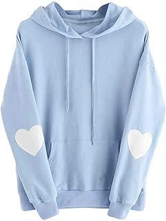 Women's Heart Printing Elbow Patch Long Sleeve Crewneck Hoodie Sweatshirt Jumper Hooded Pullover Tops