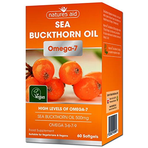 Natures Aid Sea Buckthorn Oil, 500 mg, 60 Softgels (High Levels of Omega-7, Natural Source of Omega 3, 6 and 9 with Vitamins A, B, C and E and Antioxidants, Premium Omega Oil, Vegan Society Approved)