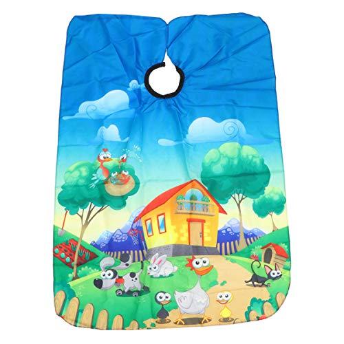 Lurrose Cape de Coupe pour Enfants avec Fermeture à Pression Réglable Dessin Animé Animales Tablier de Coiffeur Cape de Salon Cape en Polyester (Bleu)