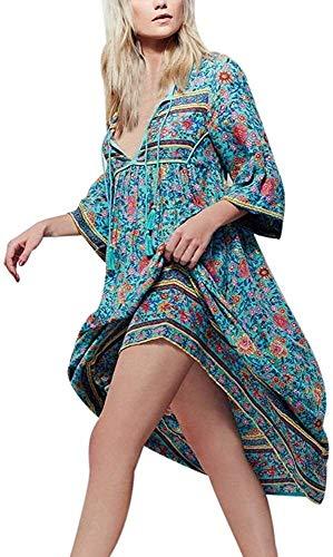 La Vendimia del Verano del Vestido De Las Mujeres con Cuello En V De Boho del Hippie Gitano E E Largo De La Borla De Las Mangas De 3/4 Étnico Estampado Floral Holgada Mixikleid Vestido De La Playa