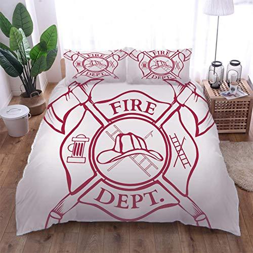 AOUAURO Bettwäsche 200x200 Feuerwehr Bettbezug Set 3D 3-Teiliges Polyester mit Reißverschluss 1 Bettbezug und 2 Kissenbezug 80x80cm 3 Stück Doppelbett