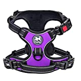 PoyPet No Pull Dog Harness, Reflective Vest Harness with 3 Buckles and Easy Control Handle(Purple,S)