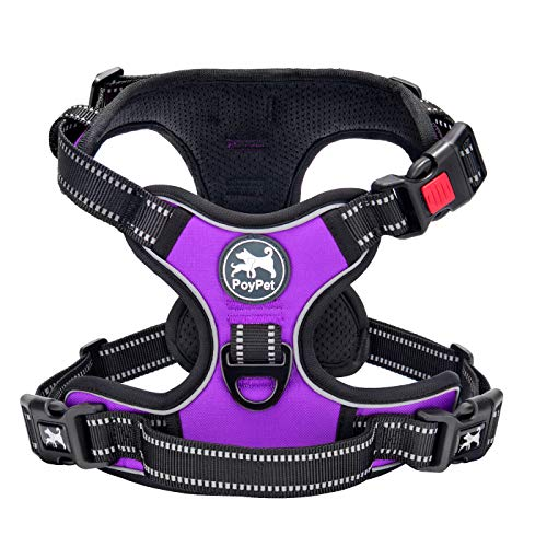 PoyPet No Pull Dog Harness, Reflective Vest Harness with 2 Leash Attachments and Easy Control Handle(Purple,XL)