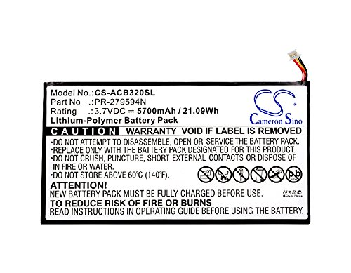 XPS Replacement Battery Compatible with ACER A5008 Iconia One 10 B3-A20 Iconia One 10 B3-A30 Iconia Tab 10 A3-A40 PN ACER PR-279594N PR-279594N(1ICP3/95/94-2)
