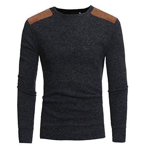 Lzcaure Sudadera de punto para hombre de algodón pesado con cuello redondo y cuello redondo y manga larga (color: gris oscuro, talla: L)