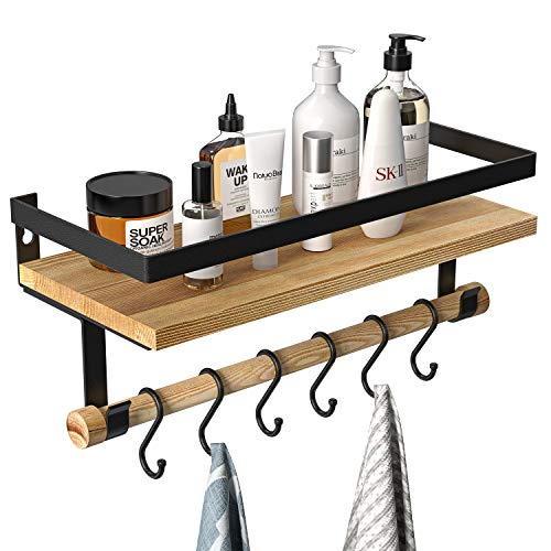 Floating Shelf with Removable Towel Bar and 6 Hooks, Rustic Wood Wall Mounted Storage Shelf, Coffee Bar Decor, for Bathroom, Kitchen,Living Room, Bedroom by AMADA HOMEFURNISHING