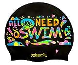Swimxwin - Gorro de natación de silicona para piscina All You Need IS Swim