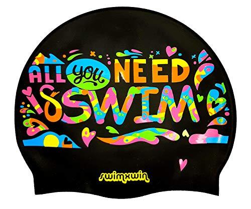 SWIMXWIN Cuffia in Silicone da Nuoto Piscina all You Need IS Swim