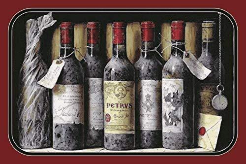 Metalen bord oude rode wijnflessen in plank metalen bord tin sign decoratie