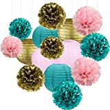 Girls Birthday Party Decorations Teal Pink Gold Tissue Pom Poms Paper Lantern Set for Teal Pink Gold Party Decorations Bridal Shower Decorations