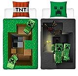 Familando Wende Bettwäsche-Set Minecraft Motiv | 135x200cm + 80x80cm | 100prozent Baumwolle | Motiv Craft Blöcke