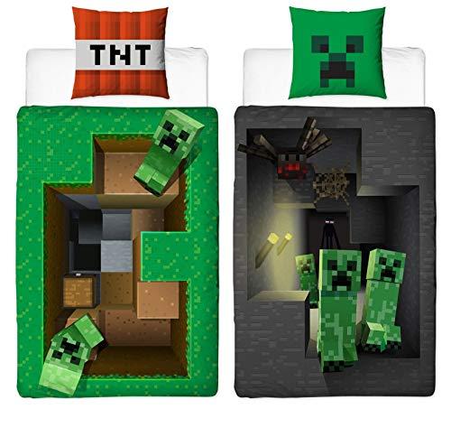 Character World Wende Bettwäsche-Set Minecraft Motiv | 135x200cm + 80x80cm | 100% Baumwolle Biber/Flanell | Motiv Craft Blöcke Winter-Bettwäsche