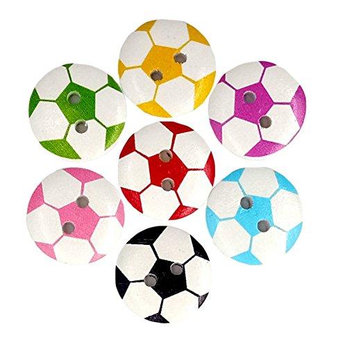 uyhghjhb - Bottoni Rotondi a Forma di Pallone da Calcio, in Legno, per Cucito, Scrapbooking, 50 Pezzi, Legno, Random Color
