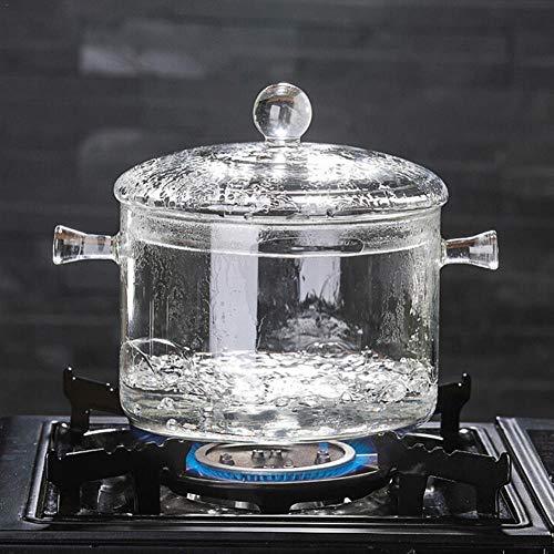 CCMOO Resistente in Vetro borosilicato Pentola per zuppa Pentola Trasparente Zuppa Fornello Bollire Acqua Noodles istantanei Porridge Fornello Pentola Pentola