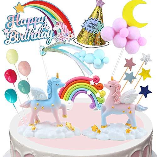 BOYATONG Einhorn Tortendeko, Tortendeko Mädchen, Regenbogen Happy Birthday Kuchen Topper, Luftballon Sternen Cake Topper Kuchen für Kinder Mädchen