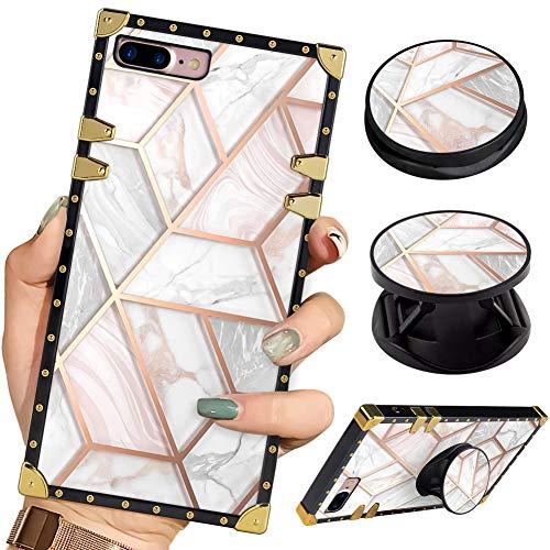 Bitobe Luxury Square Phone Case iPhone 8 Plus iPhone 7 Plus Marble Pattern Retro Elegant Soft TPU Design Cover for iPhone 7 Plus iPhone 8 Plus