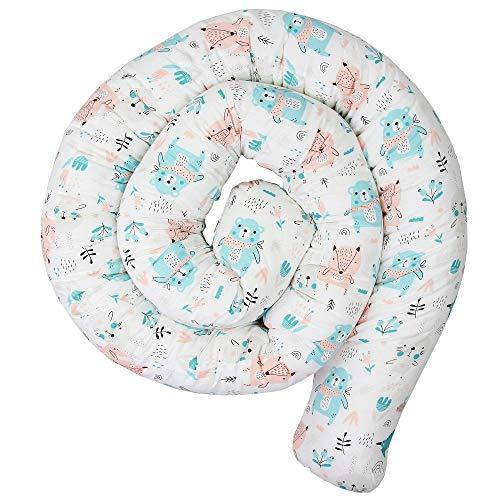 Mamandu Cama con serpiente para cuna – 300 cm para borde de cuna, borde de cuna, borde de cuna, cuna de bebé, nido para cuna (osos sobre fondo blanco)