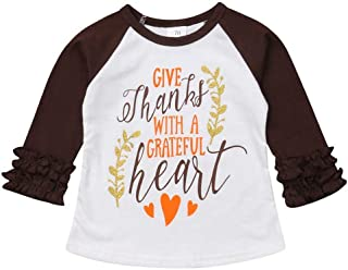 HappyMA Thanksgiving Day Toddler Kids Baby Girls Letter Print T-Shirt Long Sleeve Top Lace Sleeve Clothes Set
