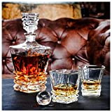 Premium Art Deco Whiskey Decanter Set. 27oz Scotch Whisky Decanter For Men In Stunning Gift Box. Genuine Lead Free Crystal Bourbon Decanter. European Design Decanter And Glasses. Glass Fits 2 Inch Ice