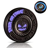 LION CITY Halloween Pumpkin Fidget Spinner, Glow in the Dark Hand Spinner with Purple Luminosity, Fully Metallic Desk Toy with Replaceable Bearing, Comes with Mini Flashlight, Matte Finish, Dark Brown
