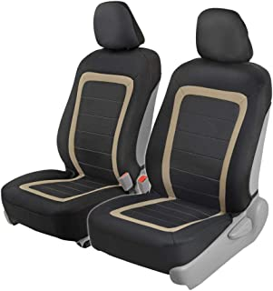 BDK Advanced Performance Car Seat Covers - Instant Install Sideless Front Seat Protector Pair - Modern Honeycomb Accent (Black/Beige)